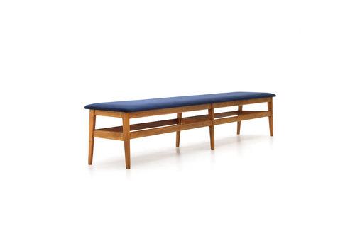 Wooden Bench With Blue Velvet Top, 1960's