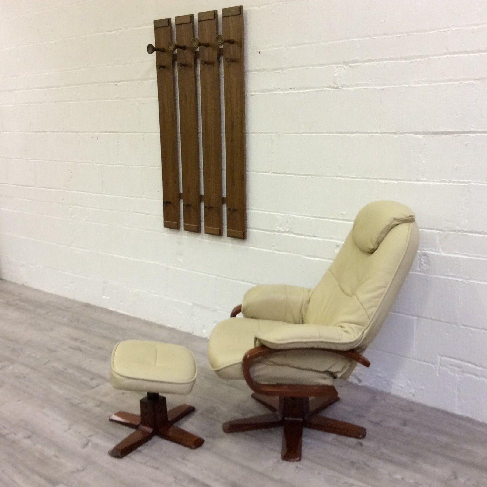 Picture of: Atlanta Luxury Recliner Chair Footstool Cream Leather Swivel Reclining Chair Atlanta Vinterior