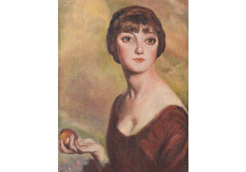 Oil Portrait Of A Young Woman Holding An Apple