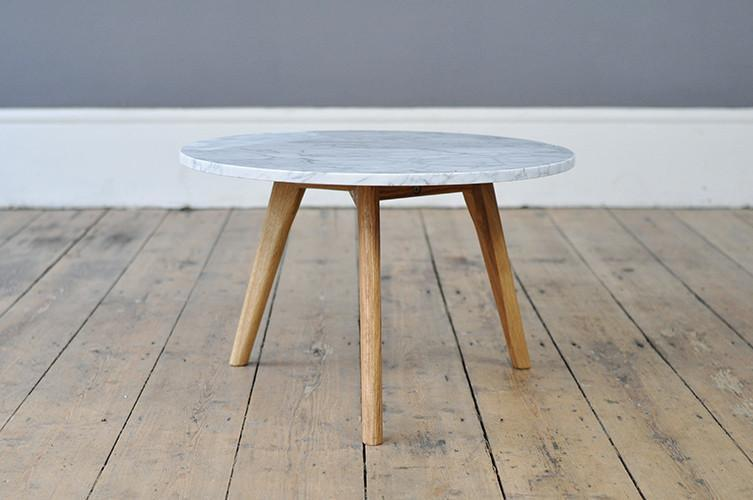 Contemporary Marble And Oak Side Table