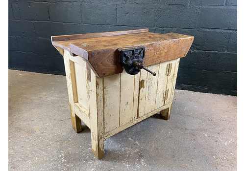 Vintage Carpenters Workbench With Cupboard