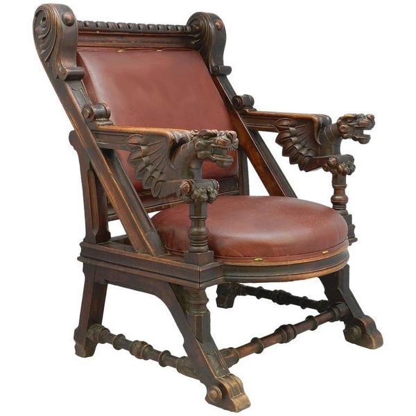 the best attitude 55c90 a27fb Throne Desk Chair 19th Century Renaissance Carved Dragons Spanish Leather