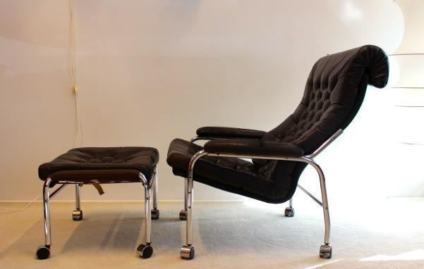 Magnificent Bore Leather Lounge Chair With Footstool By Noboru Nakamura For Ikea 1970S Machost Co Dining Chair Design Ideas Machostcouk