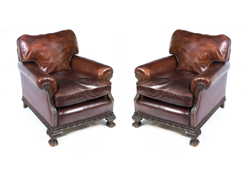 Pair Of Antique English Victorian Leather Armchairs C.1880