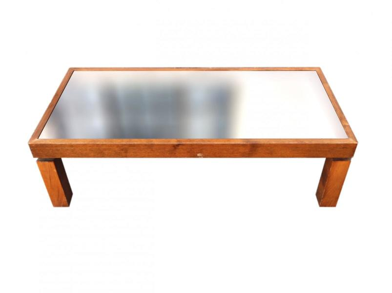 Vintage Coffee Wood Table With Black Mirrored Top