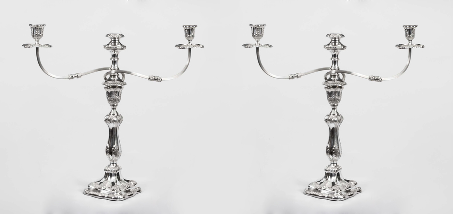 Pair Of Sheffield Silver Plate 3 Light Candelabra photo 1