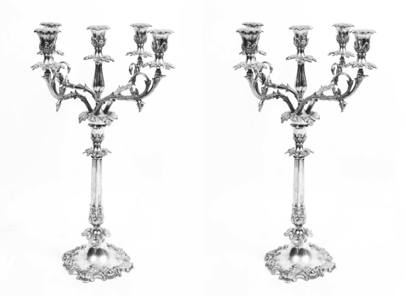 Pair Of Engraved Chased Silver Plated Candelabra