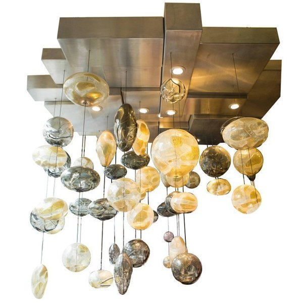 Blown Glass Chandelier Installation Art Glass Chandelier