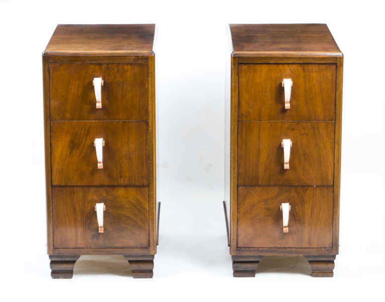 Pair Of Art Deco Walnut Bedside Chests Cabinets 1930 photo 1