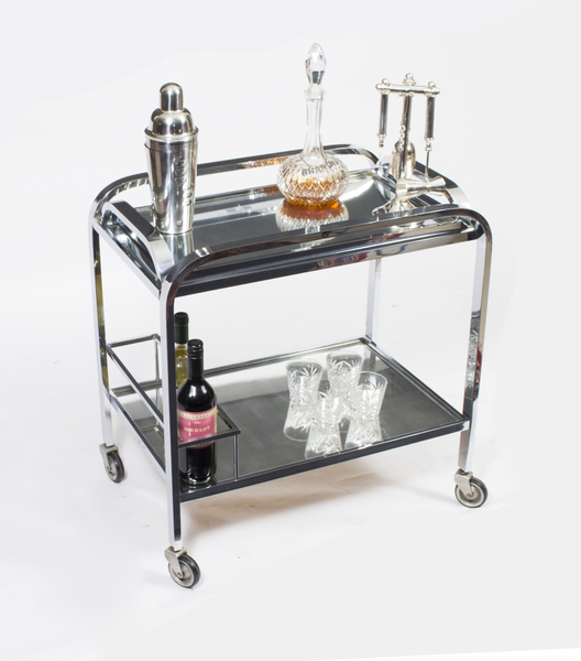 French Chrome Drinks Serving Trolley C.1930 photo 1