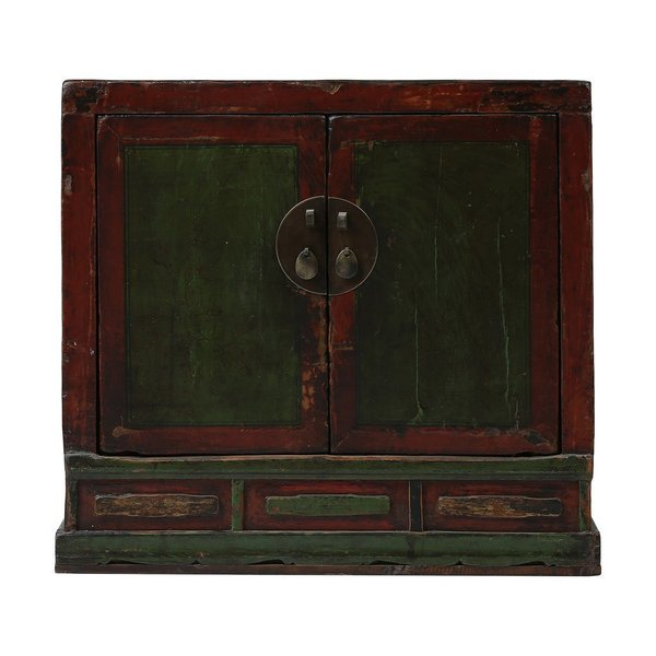 Vintage Chinese 2 Door Painted Cabinet From Shanxi