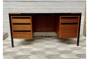 Thumb teak desk with drawers by abbess linear 0