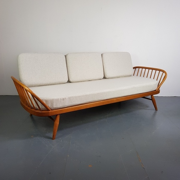 Vintage Ercol Studio Couch   Blonde And Grey