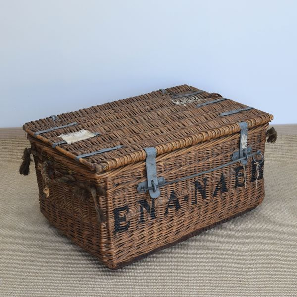 Theatrical Costume Trunk, Antique Laundry Basket, Decorator's Piece, Storage Basket, Coffee Table