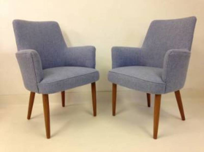 A Pair Of 1950s Teak And Tweed Armchairs