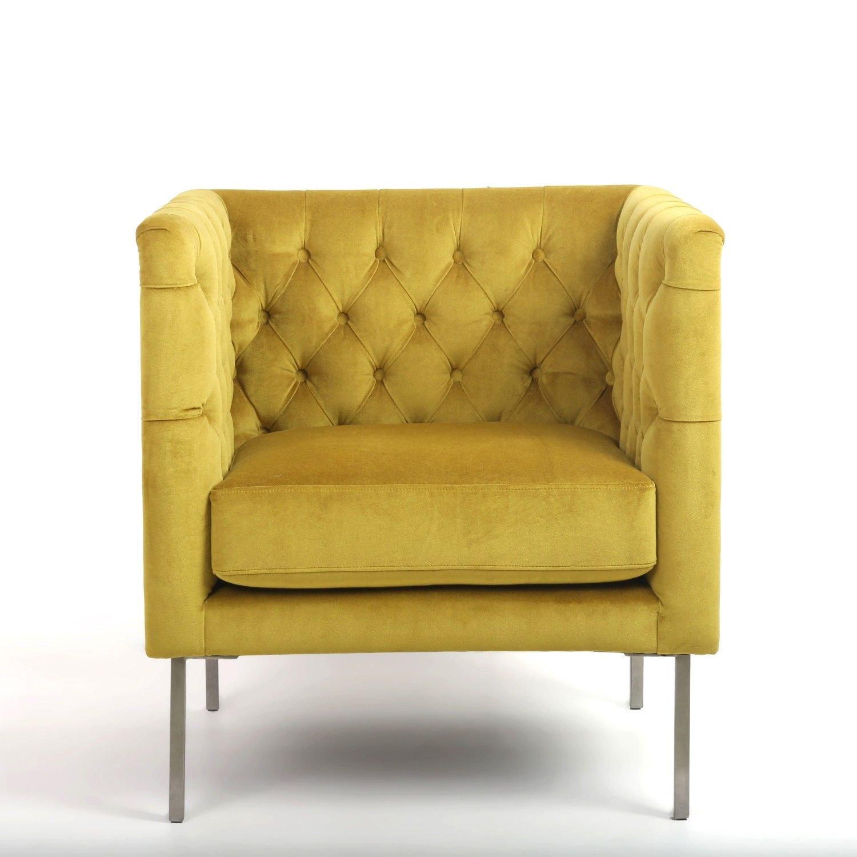 Gold Mustard Chesterfield Brushed Velvet Armchair Accent Chair Designer Bespoke Chesterfield Vinterior