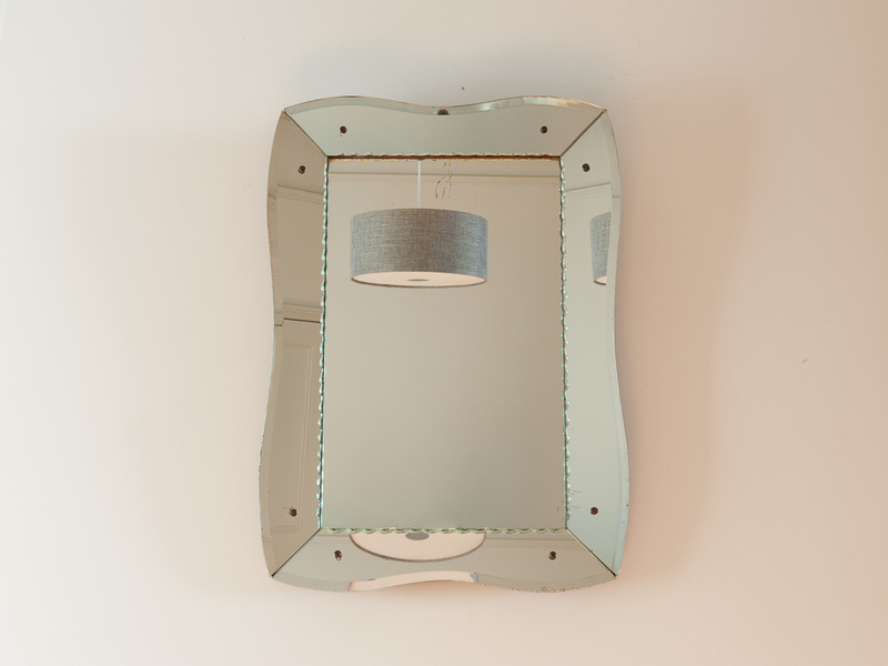 Vintage French Bevelled Etched Mirror photo 1