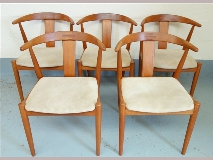 """Set Of Five Danish Dyrlund """"Horn"""" Dining Chairs"""