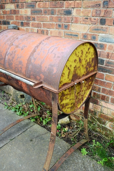 Industrial Bespoke Handmade Oil Drum Barbeque, Steel, Welded, Leaf Springs, Heavy Duty, Bbq, Patina, Rust, Rustic, Farmhouse, Country