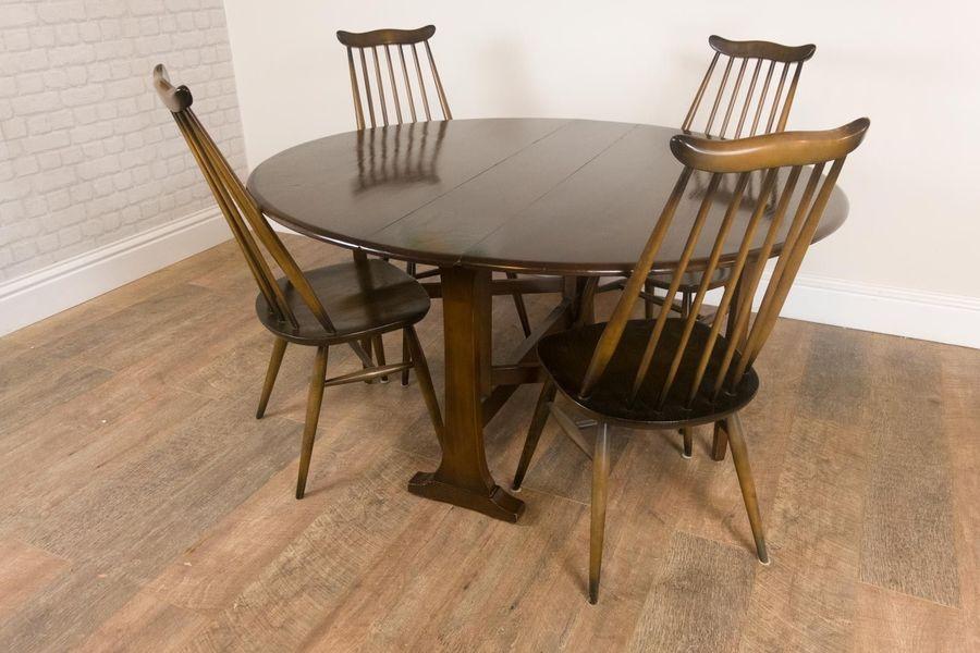 Vintage Retro Ercol Dark Elm Drop Leaf Table And 4 Golden Dawn Goldsmith Chairs