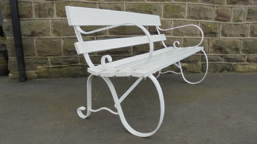 Antique Iron Wooden Garden Bench