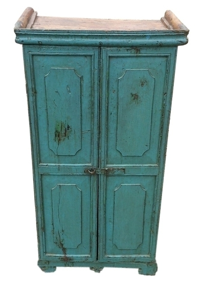 Vintage Indian Painted Wooden Cupboard From Rajasthan