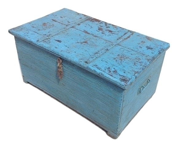 Blue Vintage Painted Wooden Chest From Rajasthan, India