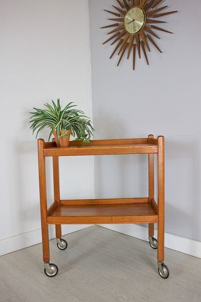 Mid Century Retro Danish Style Teak Hostess Drinks Tea Trolley