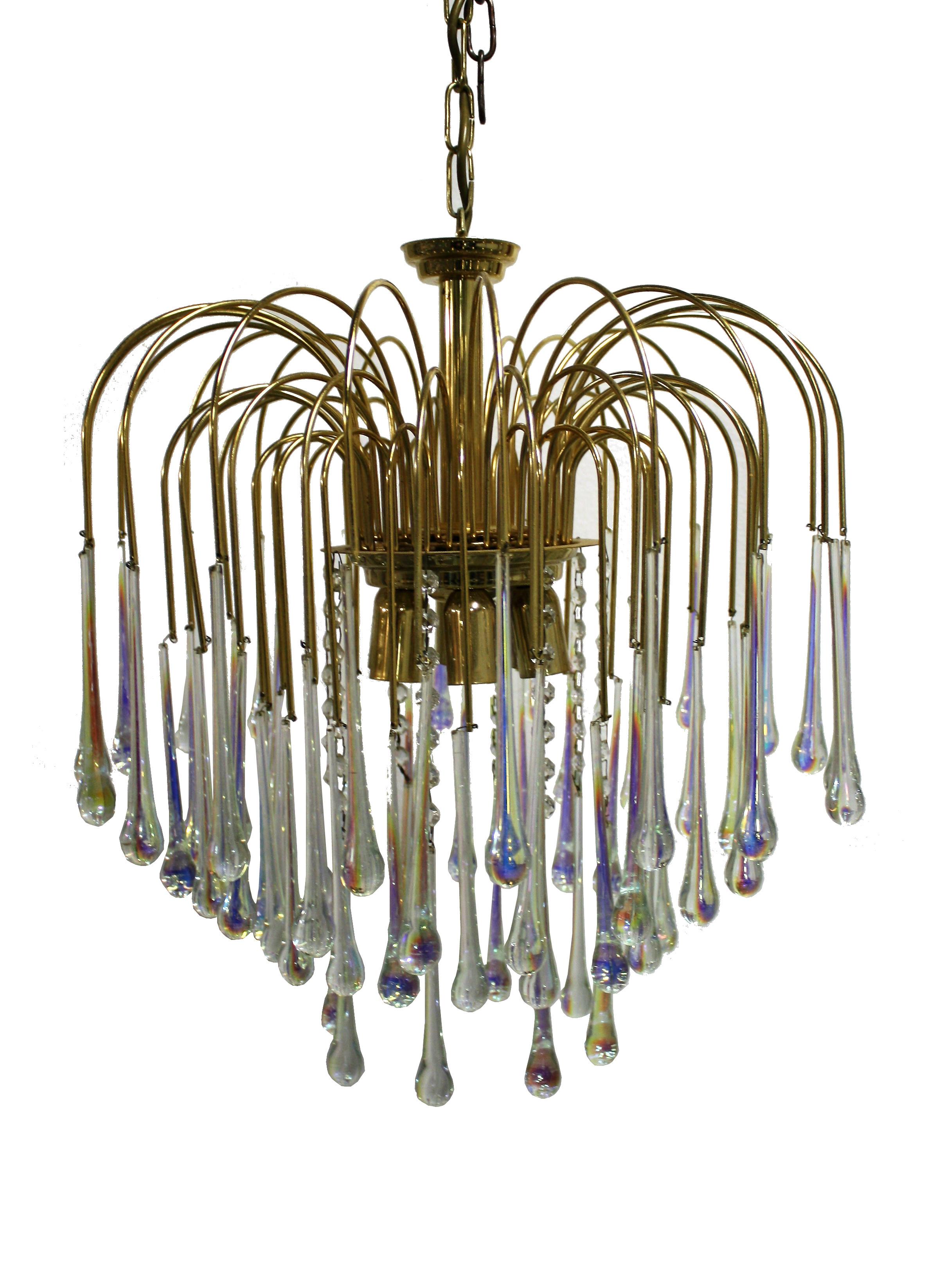 Vintage Brass Teardrop Chandelier with Crystal Murano Glass