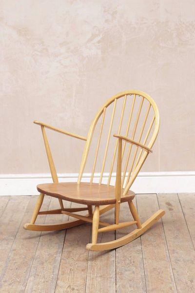 Vintage Retro Mid Century Ercol Windsor Blonde Rocking Chair Medium