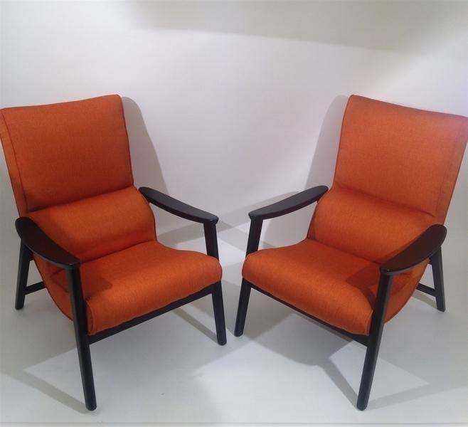 G Plan Orange Mid Century Armchairs