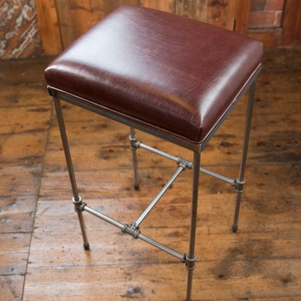 Pleasant Handmade Industrial Design Steel Pipework Bar Stool Ox Blood Leather Gamerscity Chair Design For Home Gamerscityorg