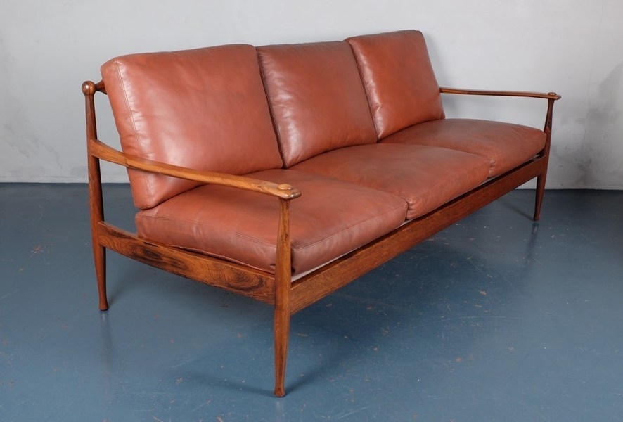 Danish Mid Century Rosewood And Leather Three Seater Sofa photo 1