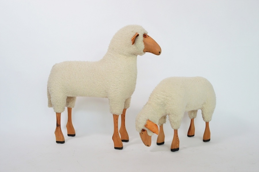 Vintage Sheep Set Of Two, 1970s