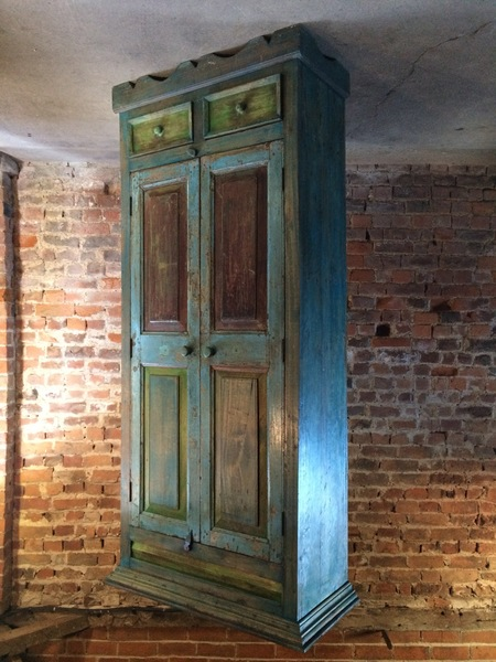 Stunning Wardrobe Cupboard Pantry French Provincial Distressed Blue Green