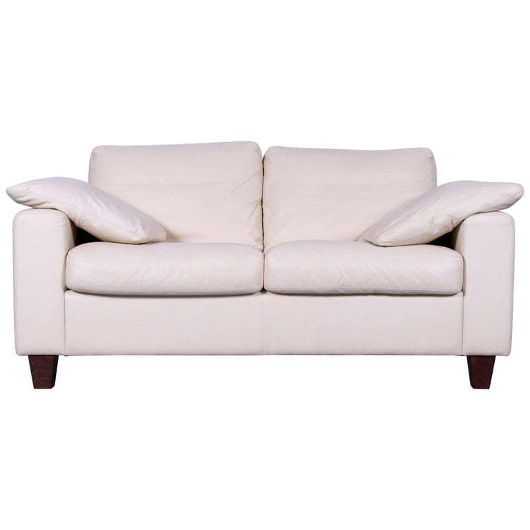 Machalke Designer Off White Leather Sofa Two Seat Couch