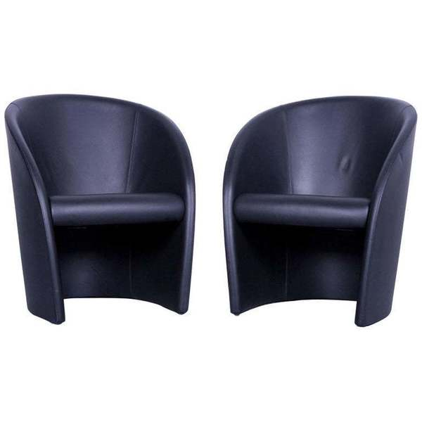 Intervista Poltrona Frau.Poltrona Frau Intervista Designer Leather Armchair Set Black One Seat