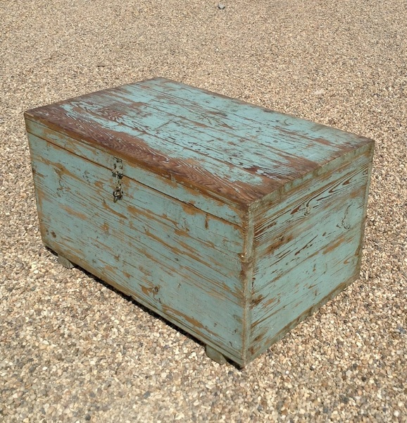 Antique Indian Blue Painted Wooden Chest, Rajasthan.