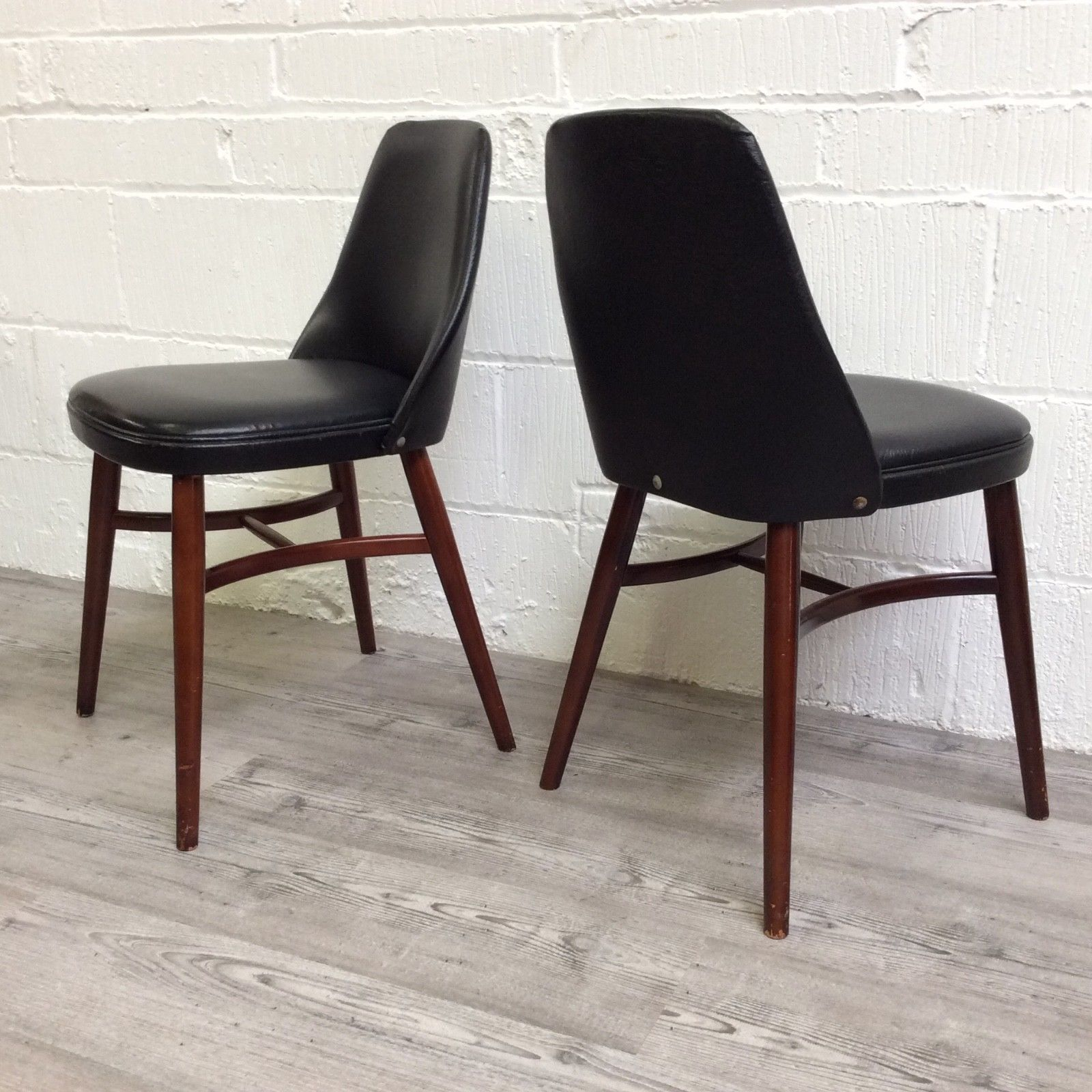 Pleasing 2 X Vintage Retro Mid Century Teak Dining Chairs Black Vinyl Danish Style Gmtry Best Dining Table And Chair Ideas Images Gmtryco