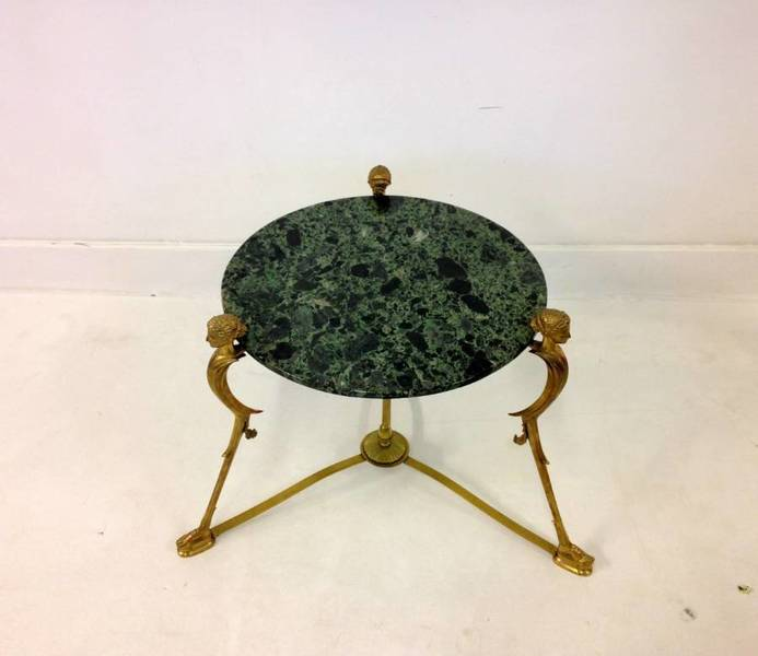 Neo Classical Brass And Marble Side Table
