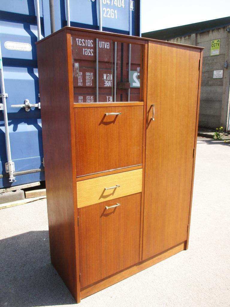 Vintage 60 S Avalon Teak Bedroom Wardrobe Tallboy Cabinet Retro Mid Century Wood Veneer Vinterior