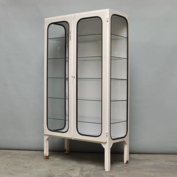Vintage Iron & Glass Medical Cabinet, 1970s
