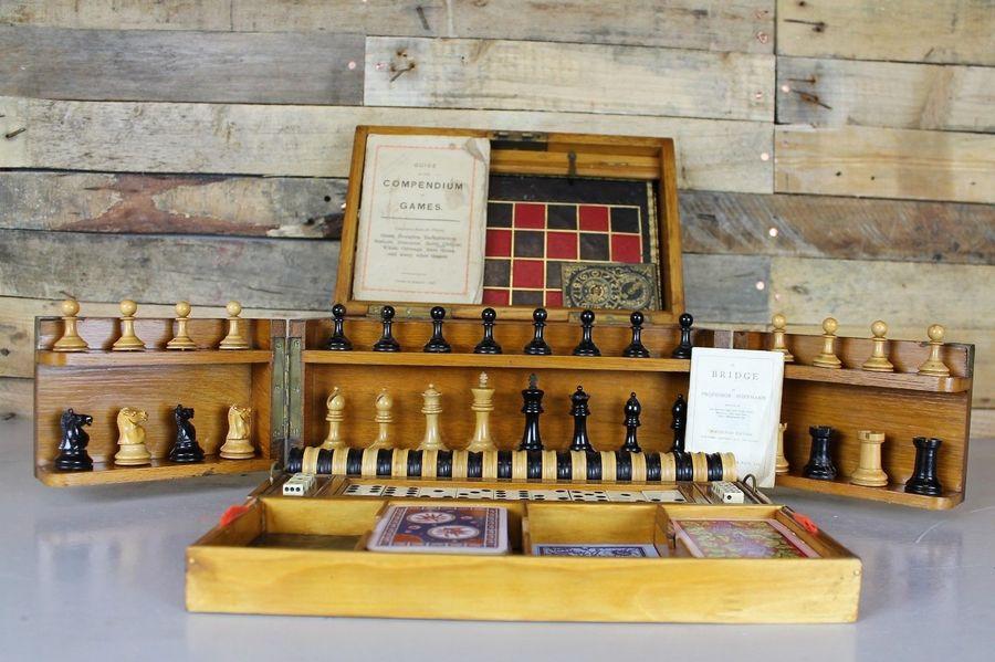 Antique Victorian Oak Games Compendium / Chess Set / Draughts
