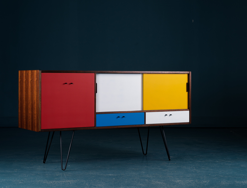 Bespoke Vintage G Plan Upcycled Sideboard * Mondrian * Retro * Mid Century Modern *