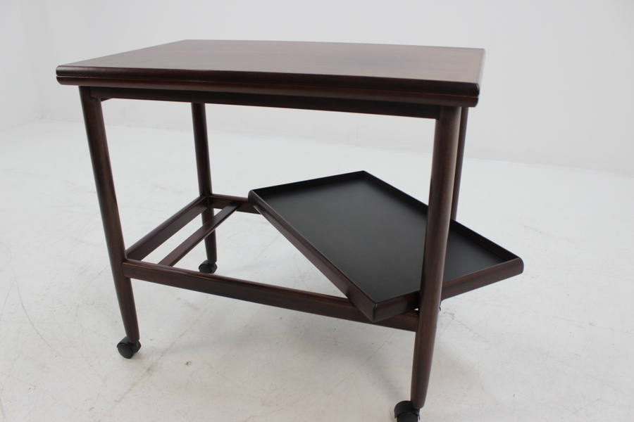 Expandable Mahogany Serving Cart By Borge Mogensen For Fredericia, Denmark