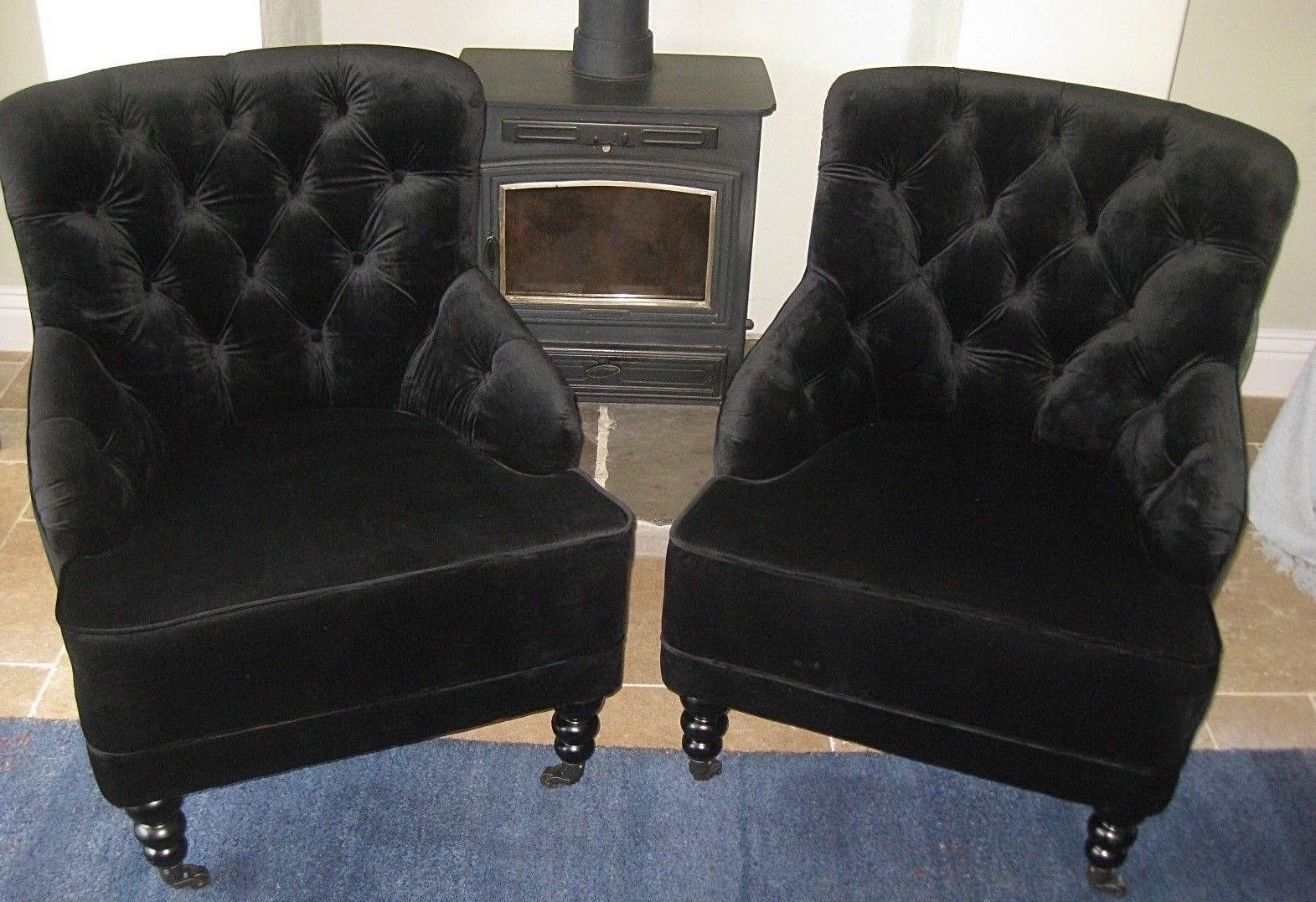 Accent Chairs Sold In Pairs.Pair Easy Armchairs Black Velvet Deep Buttoned Designer Occasional Accent Chairs