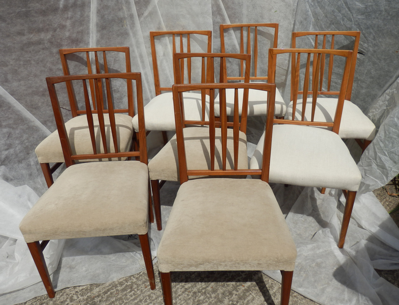 Set Of 8 Gordon Russell 1950s Solid Walnut Chairs Vintage Heals Mid Century 60s