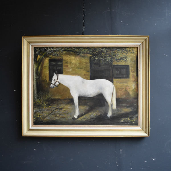 Oil On Canvas Horse Painting   'Grey Dawn' By Miller (1967)   Original Vintage
