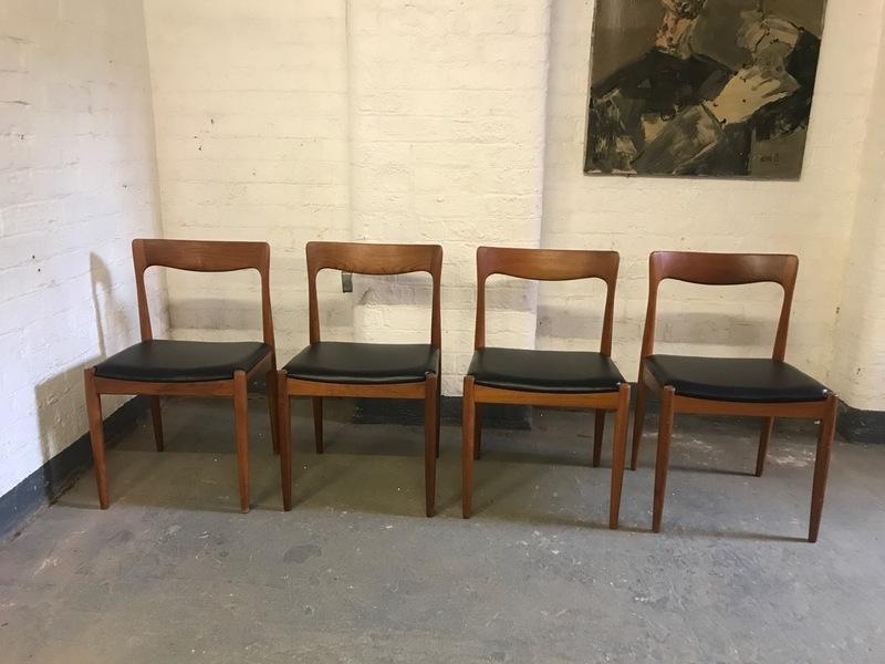Set Of 4 Mid Century Danish Teak Dining Chairs