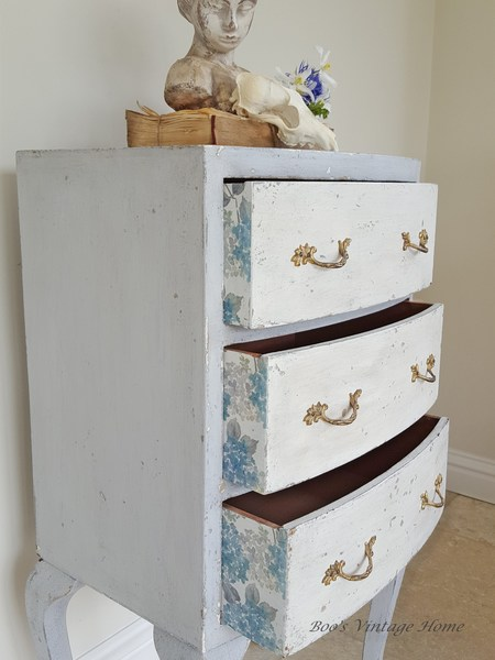 Shabby Chic Bow Front Chest Of Drawers With 3 Drawers